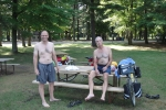 Mike & Ross getting ready to swim after long day of touring